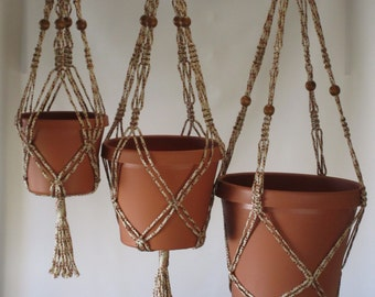 Macrame Plant Hangers Vintage Style 4mm Beaded TRIO  24 inch, 30 inch, and 36inch ALLSPICE (choose color)