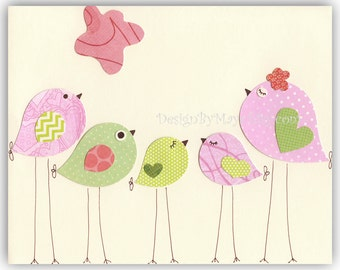 Nursery Bird Decor - Baby Girl Tweet Bird Art Decor, Love Birds Nursery, Pink And Green Nursery Print, Baby Girl Nursery Wall Art Decor