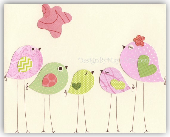 nursery bird decor baby girl tweet bird art decor love