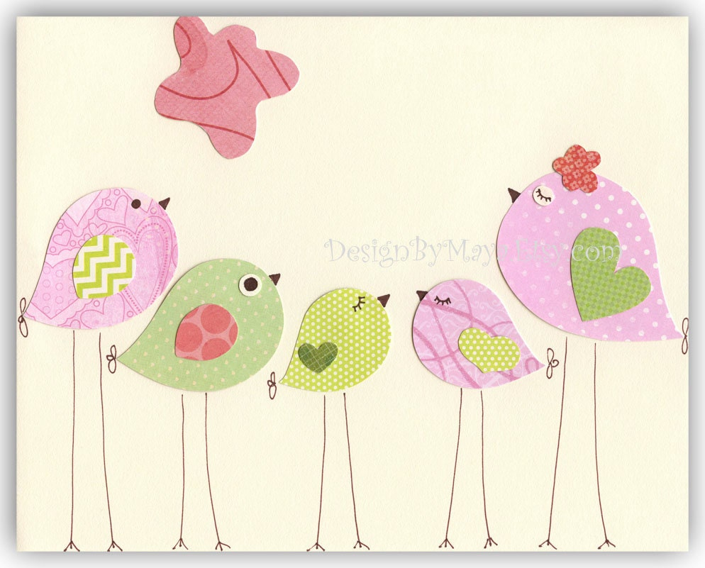 Nursery bird decor baby girl tweet bird art decor love for Baby room decoration accessories