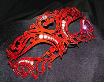 Carnival Metallic Masquerade Mask with Rhinestone Accents