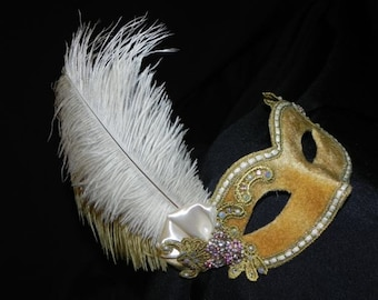 Lace and Feather Masquerade Mask in Shades of Gold and Silver
