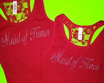 Red Bridesmaid Lace Tank Tops . Matron of Honor Tank tops , flower girl, Junior Bridesmaid, Bride to Be, Team Bride, Maid of honor script