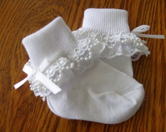 Lace and Pearl Trimmed White Dress Socks