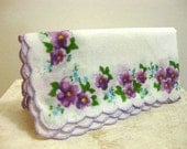 Vintage Floral Scalloped Handkerchief Purple Violet With I Magnin Box 1980's