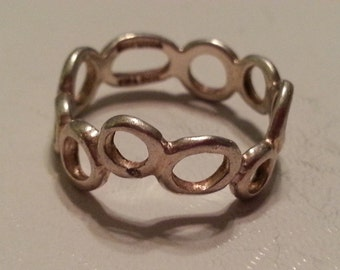 Vintage Sterling Silver Repeating Circle Ring Bubbles Ring 1990's Ladies Accessory Hand Made Thailand