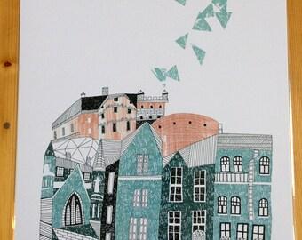 Edinburgh Grassmarket Illustration Print
