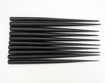 BLACK Six Inch Wooden Hair Sticks - End Drilled - Set of 10