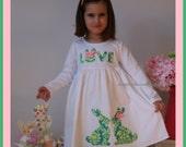 Easter Bunny Damask Dress - Infant Toddler Youth Sizes