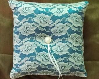 wedding ring bearer pillow custom made white lace on blue satin