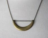 Raw Brass Geometric Half Moon Necklace