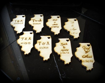 100 Illinois State Wedding Favors Custom Engraved