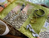 """Soft Travel Jewelry Roll,  Travel Jewelry Case, Travel Jewelry Organizer in """"Fresh Fusion"""" 8 Other Color Choices"""
