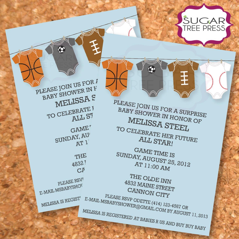 baby boy sports shower invitations sports baby shower invitation