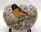 "Baltimore Oriole 7"" circle sand painting original bird painting bird art work common North American songbirds song birds sand art birdfeeder"