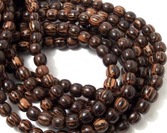 Patikan, Old Palmwood, Round, 6mm-7mm, Small, Natural Wood Beads, Full Strand, 60pcs - ID 1673