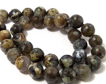 Fired Agate Bead, Gray/Yellow/Olive Green/Brown, 10mm, Round, Faceted, Multi Colored, Gemstone Beads, Large, 15 Inch Strand - ID 1818
