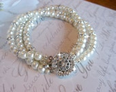 Wedding Rhinestone Pearl Bracelet/Vintage Inspired Rhinestone Bracelet/ Cuff Bracelet/Bridal Bracelet/Wedding Jewelry