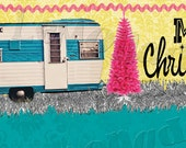 INSTANT DOWNLOAD Christmas Holiday Funky Pink Turquoise Trailer Facebook Cover Image Graphic for personal or commercial use