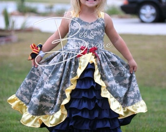 SMALLER Sizes Girls Army Navy Air Force Marines camo custom welcome home dress