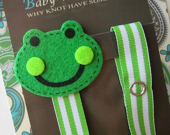 Pacifier Clip, Frog, Boy Pacifier Clip, Pacifier Holder, Binky Clip, Baby Gift, Paci Clip, Universal Pacifier, Binky Holder, pcfrog02
