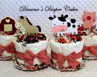 Baby Diaper Cakes Minis SET OF 4 Country Farm Animals Cupcakes Shower Gift or Centerpiece