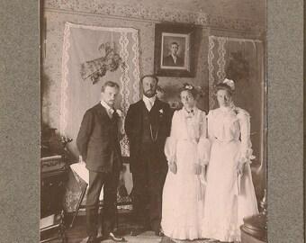 Cabinet Photo Men & Women Interior Parlor - Dried Roses - Sadie Atwood