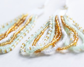 Pastel Green, Gold and White Looped Seed Bead Earrings