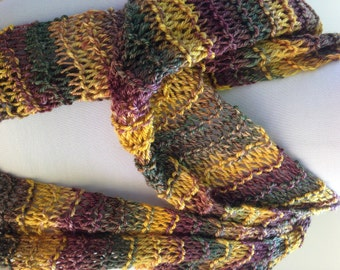 Long Knit Scarf, Gold Green Rust Striped Scarf, Hand Dyed Yarn, Navajo Plied Yarn Scarf