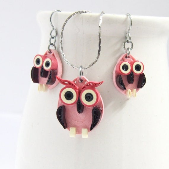 Pink Owl Earrings and Pendant Set Eco Friendly Fall by HoneysHive