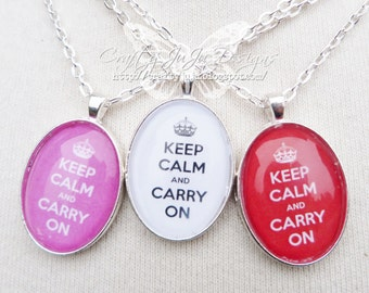 Keep Calm & Carry On Glass Tile Necklace