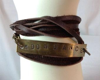 Moondance Leather Wrap Bracelet, Stamped Brass