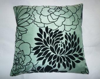 """PAIR 16"""" Cushion Pillow Covers Funky SALE Green Black Flock Velvet Designer Pillowcases Shams Slips  Pair 16"""" (40cm)"""
