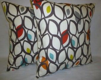 "PAIR 22x22"" BIG Modern Funky Retro Designer Cushion Covers Pillowcases Shams Slips Olive Green Dark Brown."