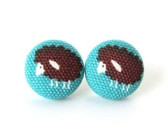 Sheep stud earrings - lamb button earrings - kawaii lamb earrings - fabric earrings blue brown animal cute kids