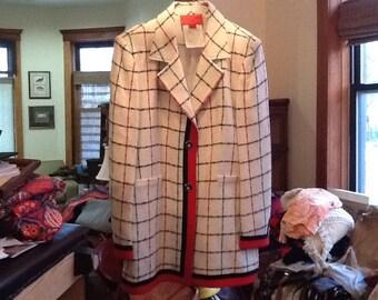Vintage EMANUEL UNGARO Jacket Authentic Women's Blazer Ungaro Coat Ungaro Blazer Paris Size 12 White Black Green Red