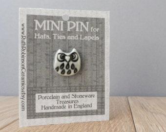 Grumpy owl tie tac glazed warm grey handmade porcelain lapel pin miniature whimsical  mini art