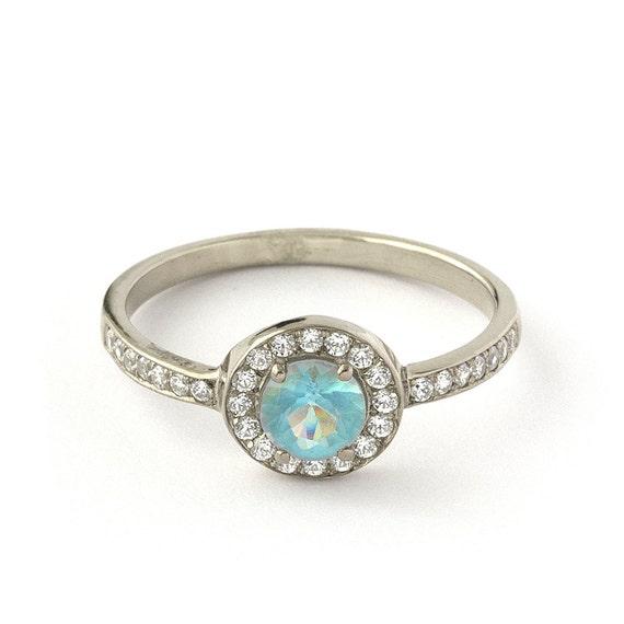 Vintage Blue Topaz Diamond Engagement Ring In 18k White Gold