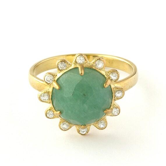 Vintage Diamonds Aquamarine Floral Ring in 14k Yellow Gold