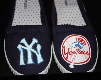 YANKEES Shoes Sneakers Handpainted shoes New York Baseball Sneakers