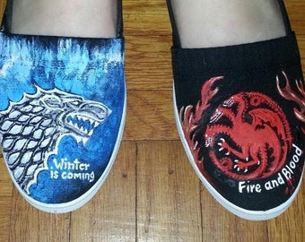 GAME OF THRONES Hand painted Shoes   Winter Fire and Blood Stark Targaryens  Westeros Shoes Sneakers