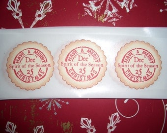 Christmas Stickers - Seals -  Have a Merry Christmas - Envelope Seals - Set of Twelve