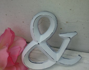 "Wall Decor, Shabby Chic Letters, 4"" letters, Ampersand"