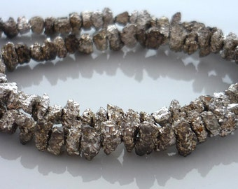 Silver plated pyrite druzy nugget beads 5-8mm 1/2 strand