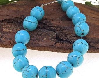 Round Turquoise 15Beads Turquoise Gemstone Beads 12mm