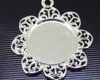 4pcs of Plated Silver Filigree Pendant Base With  Flower Pad Findings base  fit 25mm gemstone beads  pendant base ,Cabochon Base pendant