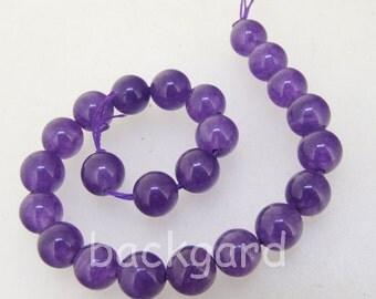 "Charm 23Beads Round Amethyst Color Jade 8mm Gemstone Beads 7.5"" Half Strand"