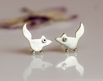 FOX Stud Earrings Sterling Silver Mini Zoo series