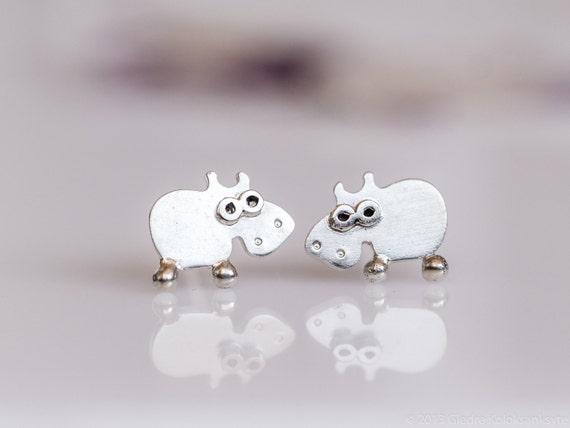 HIPPO Stud Earrings Sterling Silver Mini Zoo series