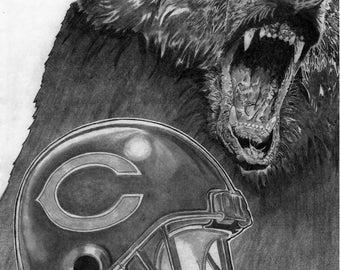 Chicago Bears Helmet Art Poster